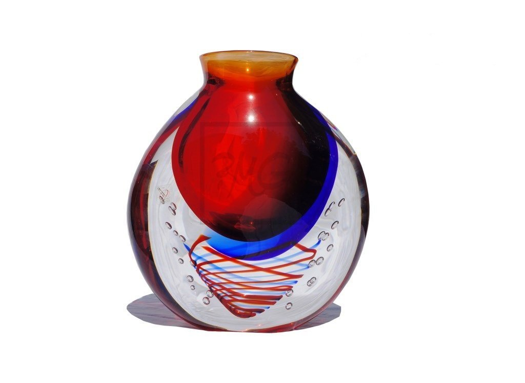 Sommerso Vase By Oball From Murano Italy