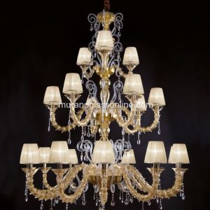 Cenedese Gold Royal Chandelier with Pendants