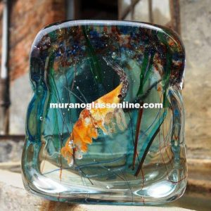 Shrimp in Murano Glass Aquarium
